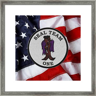 U. S. Navy S E A Ls - S E A L Team One -  S T 1 Patch Over U.s. Flag Framed Print