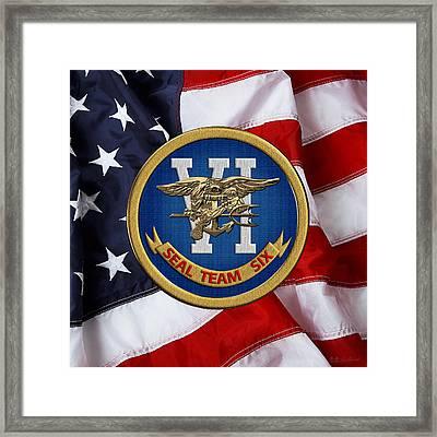 U. S. Navy S E A Ls - S E A L Team Six  -  S T 6  Patch Over U. S. Flag Framed Print
