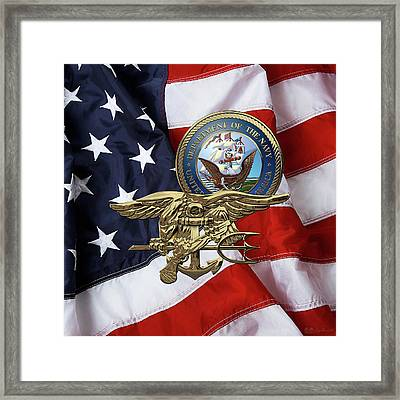 U. S. Navy S E A Ls Trident Over American Flag  Framed Print