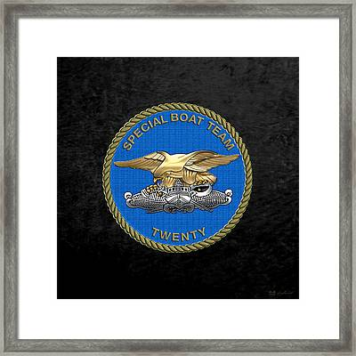 U. S. Navy S W C C - Special Boat Team 20   -  S B T 20   Patch Over Black Velvet Framed Print by Serge Averbukh