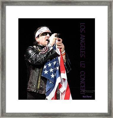 U2 Bono L.a. Concert Framed Print by Nick Diemel