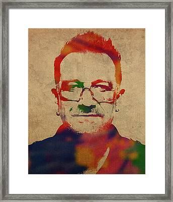 U2 Bono Watercolor Portrait Framed Print
