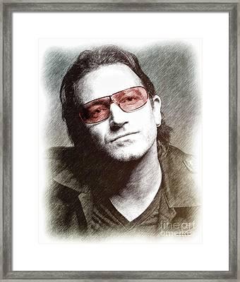 U2's Bono Framed Print by Elaine Manley