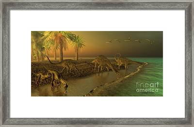 Uberabatitan Dinosaurs Framed Print by Corey Ford