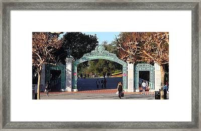Uc Berkeley . Sproul Plaza . Sather Gate . Wide Size . 7d10020 Framed Print