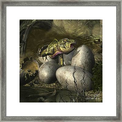 Udanoceratops Hatching Out Of An Egg Framed Print by Kurt Miller