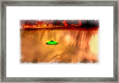 Ufo At Niagra Framed Print by Esoterica Art Agency