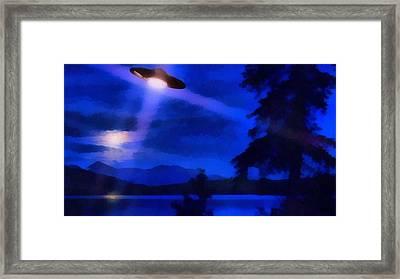 Ufo At Night Framed Print