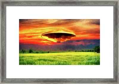 Ufo At Sunset Framed Print