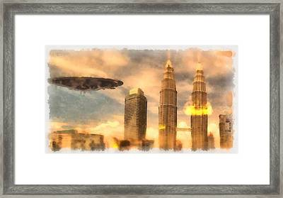 Ufo Attack Framed Print by Esoterica Art Agency