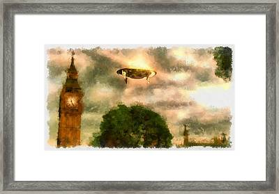 Ufo Big Ben Framed Print by Esoterica Art Agency
