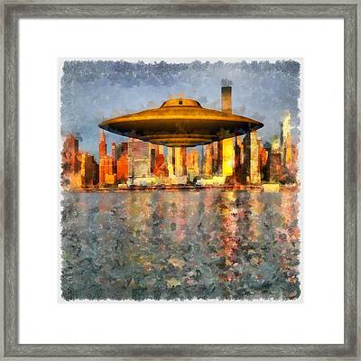 Ufo Down River Framed Print by Esoterica Art Agency