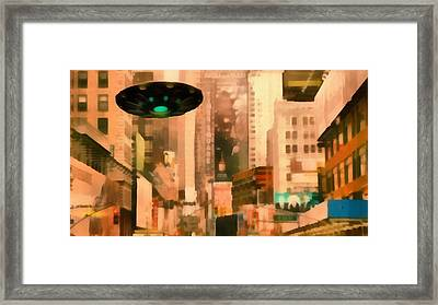 Ufo In City Framed Print