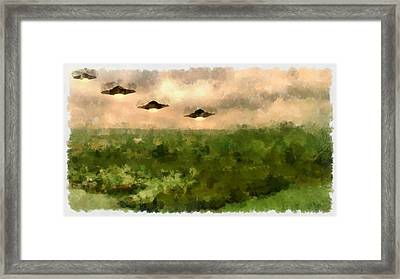 Ufo Invasion Over Landscape Framed Print by Esoterica Art Agency