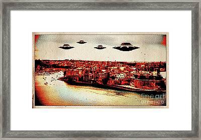 Ufo Invasion Pop Art By Raphael Terra Framed Print