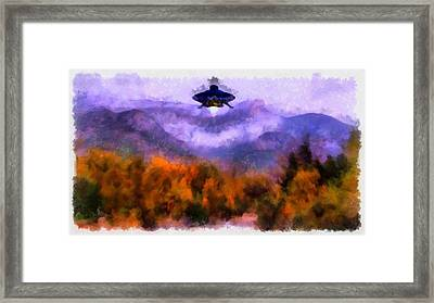 Ufo Landing Framed Print by Esoterica Art Agency