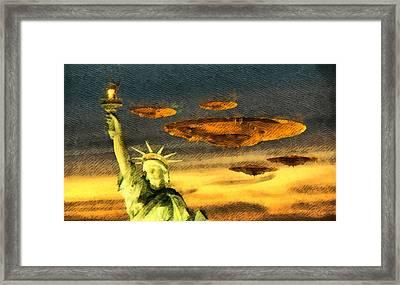 Ufo Liberty Framed Print by Raphael Terra