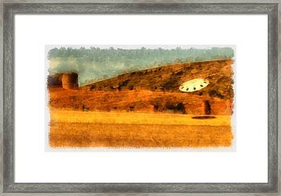 Ufo Near Castle Framed Print by Esoterica Art Agency