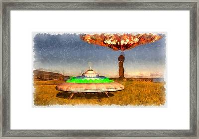 Ufo On Easter Island Framed Print by Esoterica Art Agency