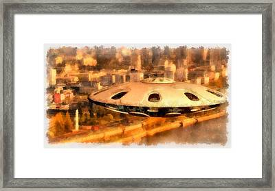 Ufo Over City Framed Print by Esoterica Art Agency