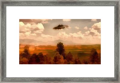 Ufo Over Forest Framed Print