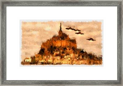 Ufo Over Mont St Michel Framed Print by Esoterica Art Agency