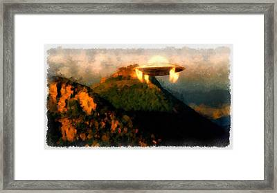 Ufo Over Mountains Framed Print by Esoterica Art Agency