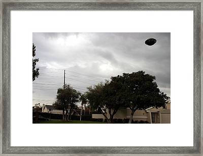 Ufo Over My Neighborhood  Framed Print by Michael Ledray