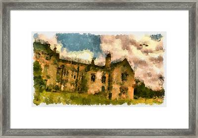 Ufo Over Stately Home Framed Print by Esoterica Art Agency