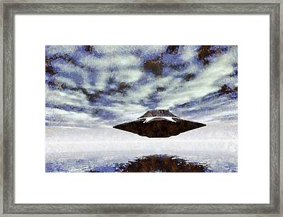 Ufo Over Water By Raphael Terra Framed Print by Raphael Terra