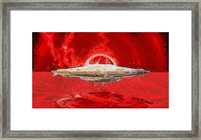 Ufo Red Framed Print by Raphael Terra