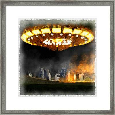 Ufo Stonehenge Framed Print by Esoterica Art Agency