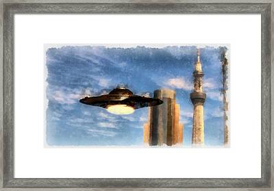 Ufo Towers Framed Print by Esoterica Art Agency