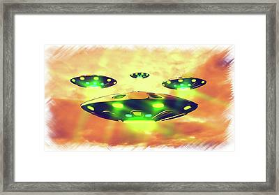 Ufo Variations By Rt Framed Print by Raphael Terra