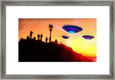 Ufo Watchers By Raphael Terra Framed Print