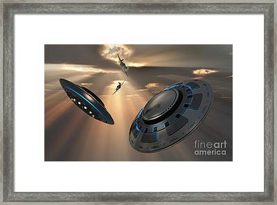 Ufos And Fighter Planes In The Skies Framed Print by Mark Stevenson