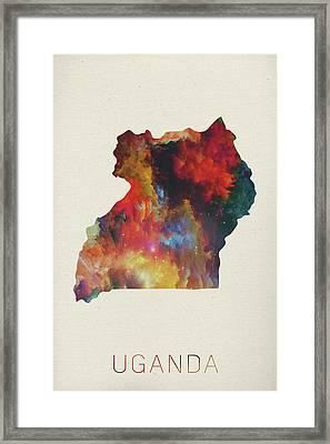 Uganda Watercolor Map Framed Print
