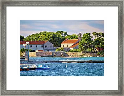 Ugljan Island Village Old Church And Beach View Framed Print