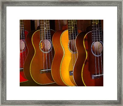 Framed Print featuring the photograph Ukes by Jim Mathis
