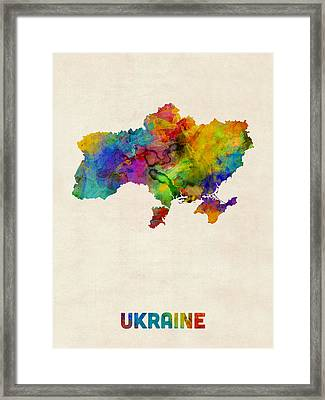 Ukraine Watercolor Map Framed Print by Michael Tompsett