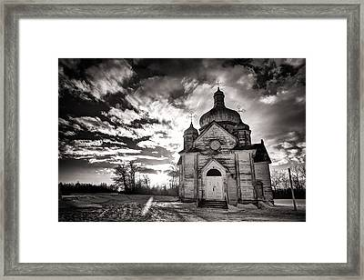 Ukranian Church Bw Sunset Framed Print by Ian MacDonald