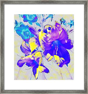 Framed Print featuring the photograph Ultraviolet Daylilies by Shawna Rowe