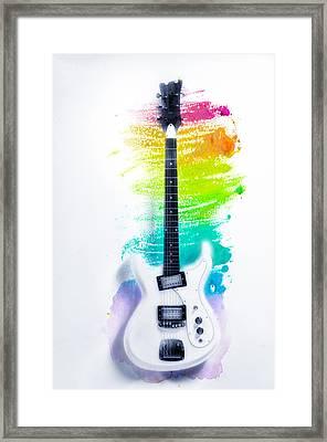 Ultravox Guitar Watercolor Bg Framed Print by Bill Cannon
