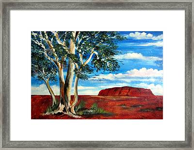 Framed Print featuring the painting Uluru Ayers Rock by Roberto Gagliardi