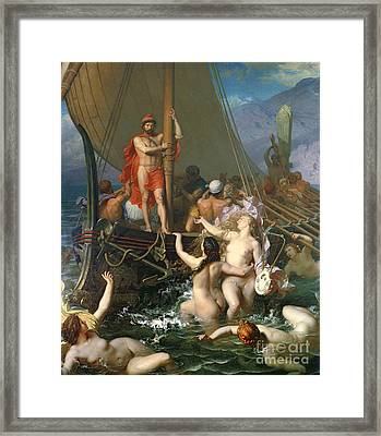 Ulysses And The Sirens Framed Print by Leon Auguste Adolphe Belly
