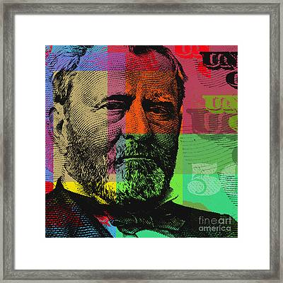 Framed Print featuring the digital art Ulysses S. Grant - $50 Bill by Jean luc Comperat