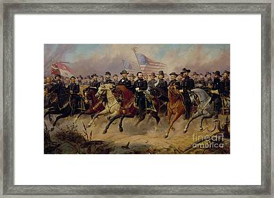 Ulysses S Grant And His Generals Framed Print by Ole Peter Hansen Balling
