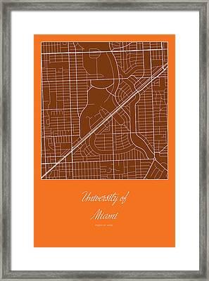 Um Street Map - University Of Miami In Miami Map Framed Print by Jurq Studio