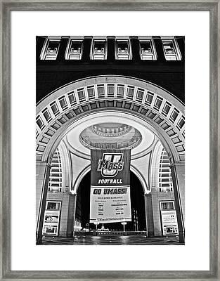 Umass Black And White Framed Print