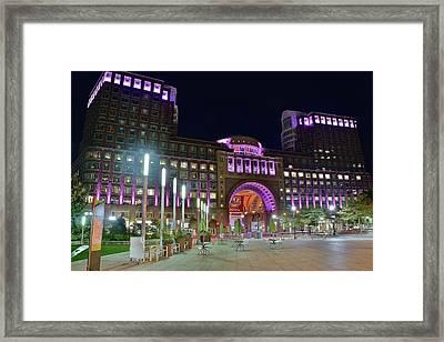 Umass Night Image Framed Print